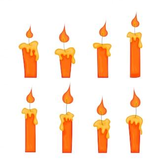 Conjunto de velas amarelas com chamas em estilo cartoon