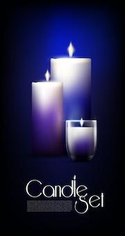 Conjunto de velas brilhantes realistas
