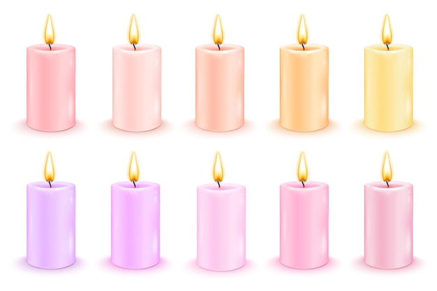 Conjunto de velas cilíndricas coloridas com chamas ardentes. ilustração realista do vetor.