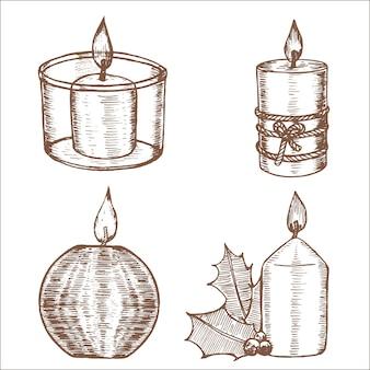 Conjunto de velas com desenho à mão