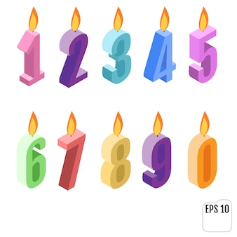 Conjunto de velas de aniversário isométricas.
