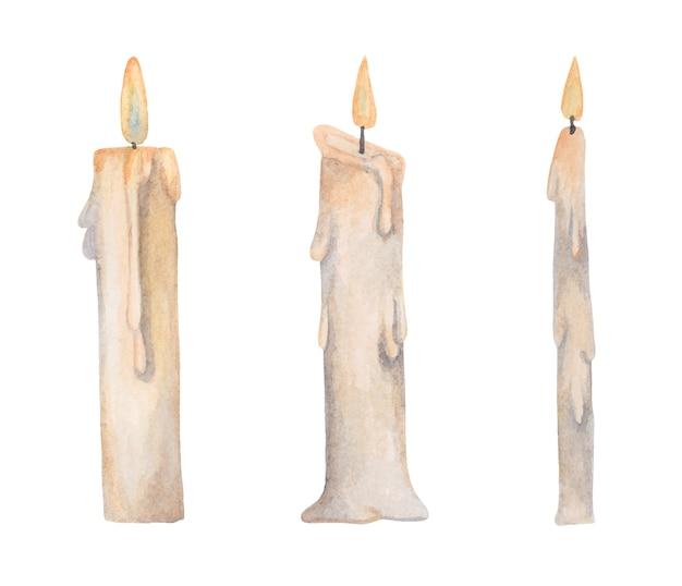 Conjunto de velas de aquarela queimando cera