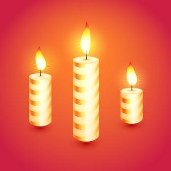 Conjunto de velas de natal brilhantes. ilustração.