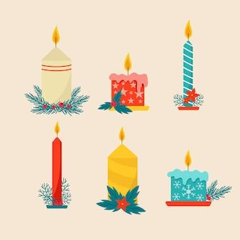 Conjunto de velas de natal de design plano