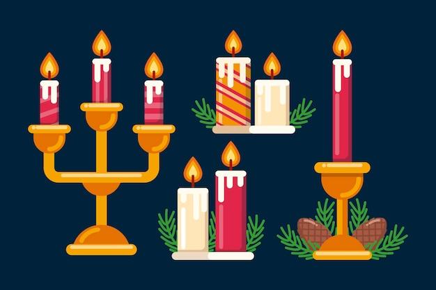 Conjunto de velas de natal desenhadas à mão