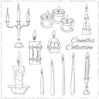 Conjunto de velas desenhado à mão