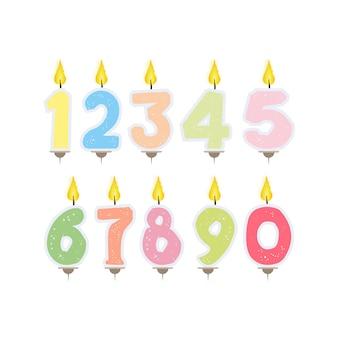 Conjunto de velas festivas em forma de números. velas para bolo isoladas