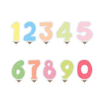 Conjunto de velas festivas em forma de números. velas para bolo isolado no fundo branco.