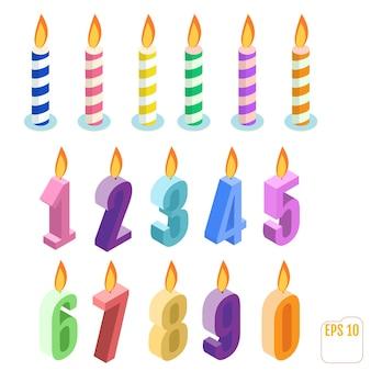 Conjunto de velas isométricas de aniversário