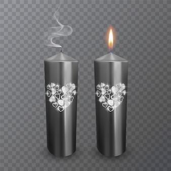 Conjunto de velas realistas de cores pretas com uma camada brilhante de corações