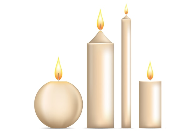 Conjunto de velas realistas isolado no branco.