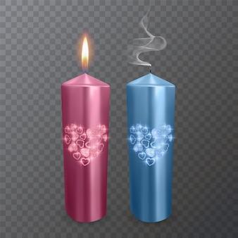 Conjunto de velas realistas nas cores rosa e azul com uma camada brilhante de corações