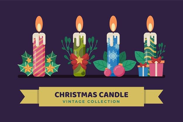 Conjunto de velas vintage de natal
