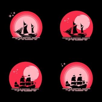 Conjunto de veleiro na lua