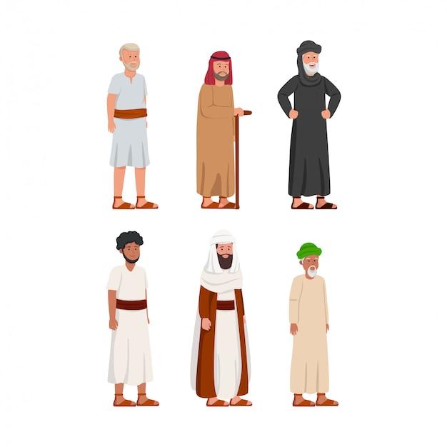 Conjunto de velho antigo árabe homem personagem
