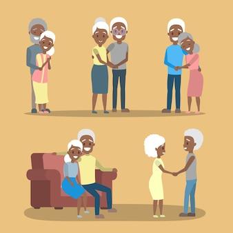 Conjunto de velho casal. personagem afro-americana idosa bonita feliz juntos. avó e avô apaixonados. ilustração em vetor plana isolada