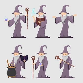 Conjunto de velho mago mágico de desenho animado
