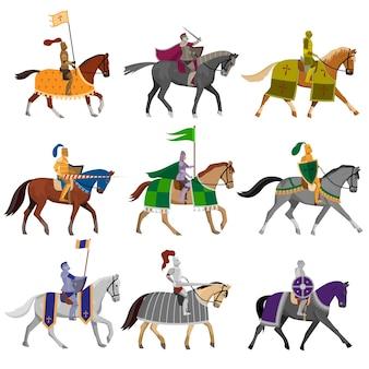 Conjunto de velhos cavaleiros medievais em capacete de aço com diferentes cavalos