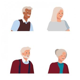 Conjunto de velhos homens e mulheres com blusa e camisa