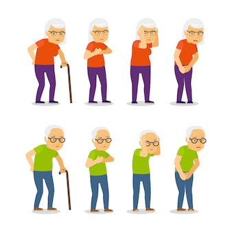 Conjunto de velhos homens e mulheres