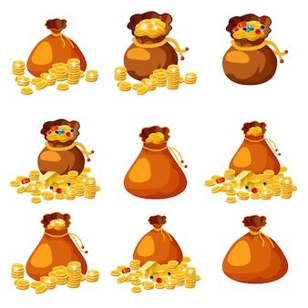 Conjunto de velhos sacos, bolsas, vazios e cheios de ouro para jogos em estilo cartoon