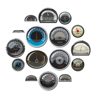 Conjunto de velocímetros de carro, estilo realista