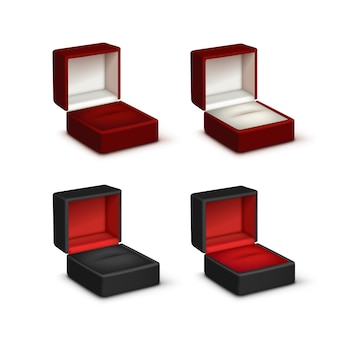Conjunto de veludo preto e branco colorido vazio abriu caixas de jóias de presente fechar isolado no fundo branco