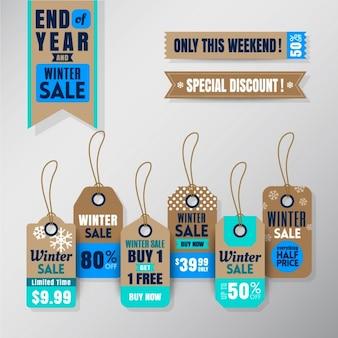 Conjunto de venda a retalho temporada de inverno pendurado elementos design tags