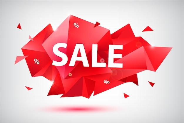 Conjunto de venda banners geométricos facetados, cartazes, cartões. formas abstratas de desconto. use para publicidade, web