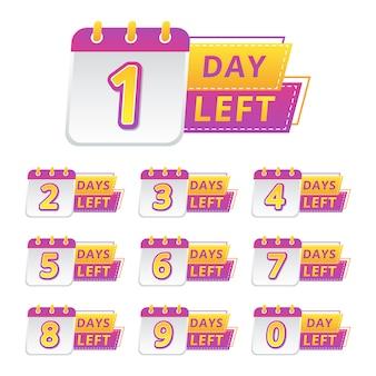 Conjunto de venda de calendário com data de contagem regressiva