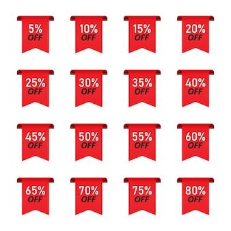 Conjunto de venda de etiquetas vermelhas com porcentagens de desconto