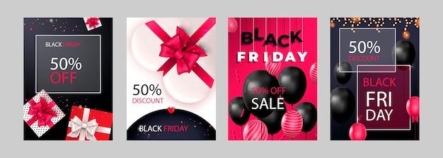 Conjunto de venda de sexta-feira negra de design de cartazes ou folhetos com balões e confetes