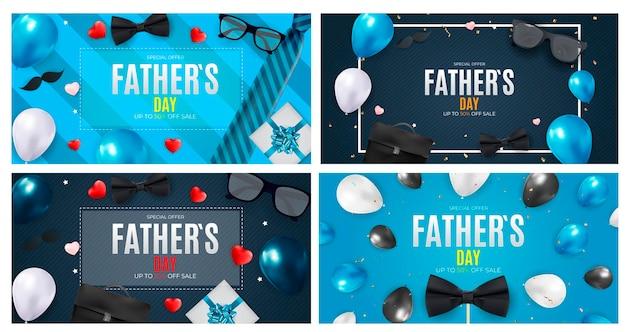Conjunto de venda do banner do dia dos pais