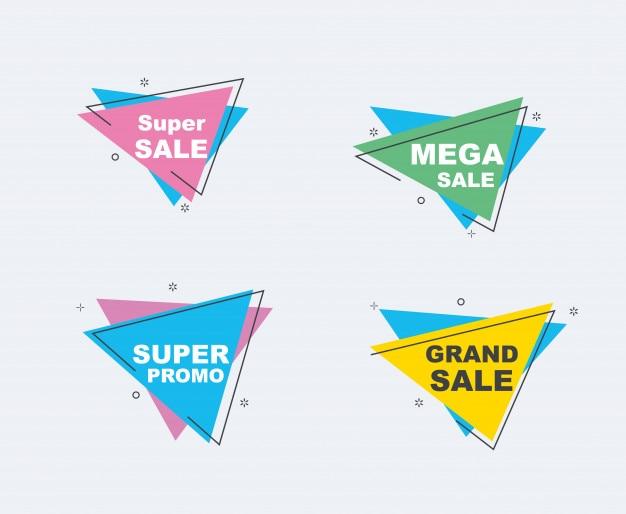 Conjunto de venda e descontos de banners. fita de formas geométricas e origami.