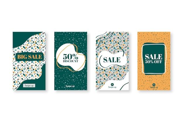 Conjunto de venda instagram de terraço estilo mão desenhada