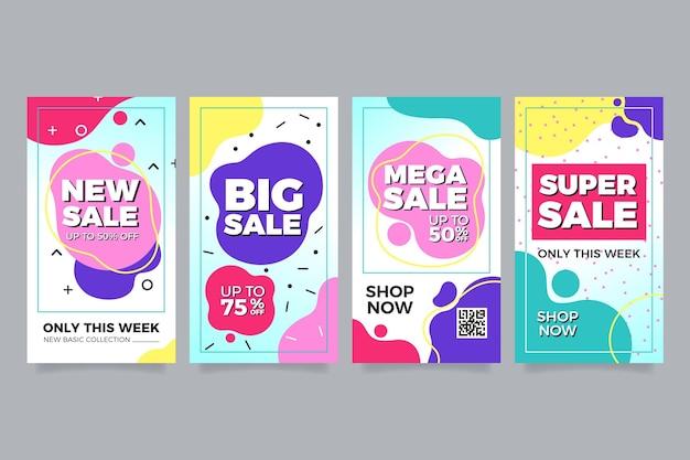 Conjunto de vendas coloridas para instagram