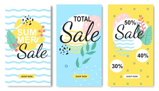 Conjunto de vendas de verão tropical em estilo flat floral