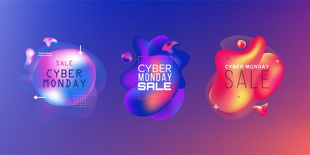 Conjunto de vendas. sexta-feira negra, segunda-feira cibernética e venda de outono. formas coloridas líquidas. elementos gráficos modernos abstratos no escuro. .