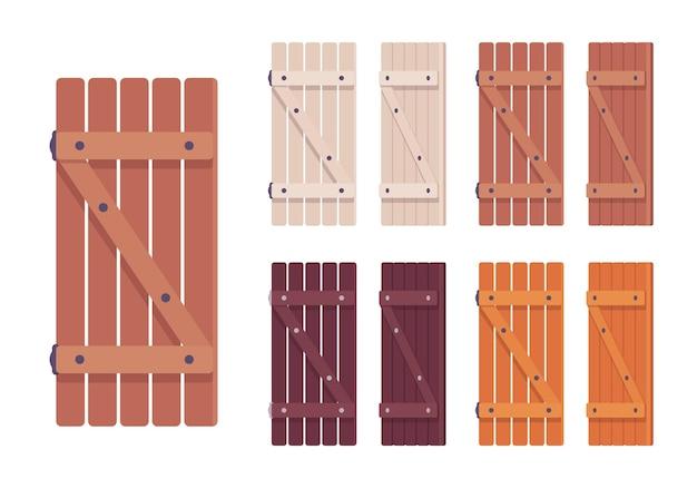 Conjunto de veneziana de madeira