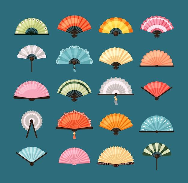 Conjunto de ventiladores tradicionais. desenhos asiáticos coloridos com decoração oriental