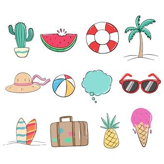 Conjunto de verão bonito ícones ou elementos