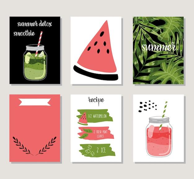 Conjunto de verão com cartões.