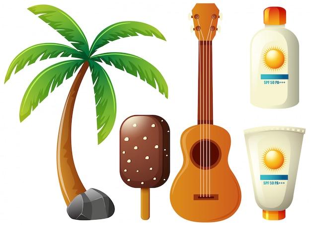 Conjunto de verão com coqueiro e guitarra
