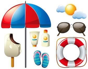 Conjunto de verão com guarda-chuva e sol