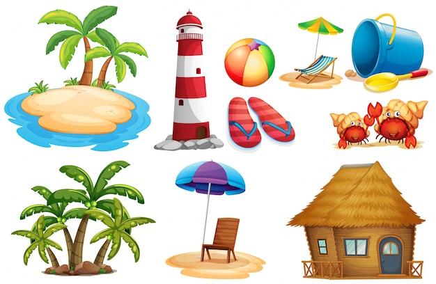 Conjunto de verão com ilha e bangalô