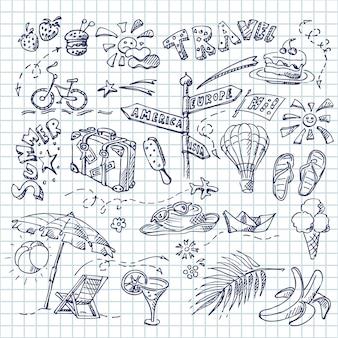 Conjunto de verão de diferentes objetos, praia e tema do mar