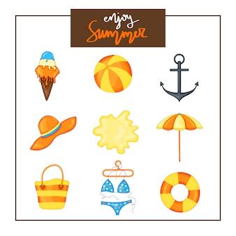 Conjunto de verão de itens em um fundo branco. viagem, praia e comida deliciosa.