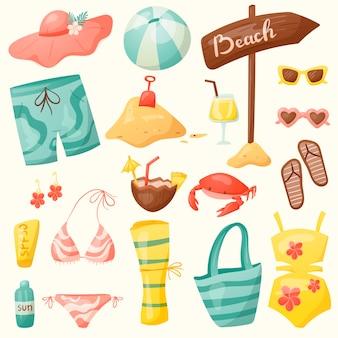 Conjunto de verão dos desenhos animados. elementos de férias no mar e na praia, artigos para nadar e tomar sol.
