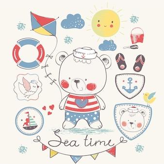 Conjunto de verão ilustração vetorial desenhada à mão com urso fofo bebê. pode ser usado para impressão de camiseta de bebê