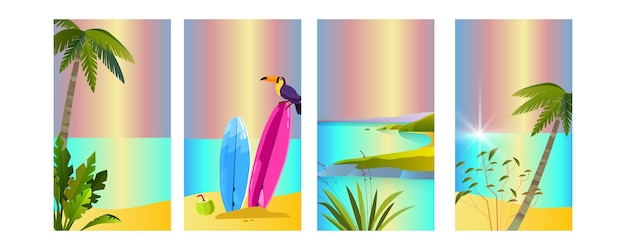 Conjunto de verão, tucano, prancha de surf, palmeiras, praia, ilha, oceano. tropical